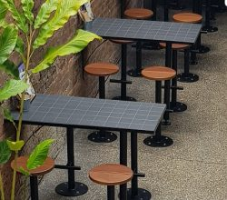 Tiled Top Dry Bars with Steel surrounds and Base – Powder Coated Black