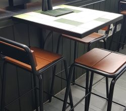 Wall Mounted Table on Powder Coated Steel Frame with Tiled, Recessed, Top