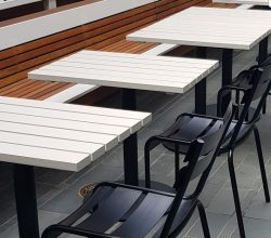 Painted Timber slats on a Steel Pedestal base with Round Base Plate – Powder Coated Black