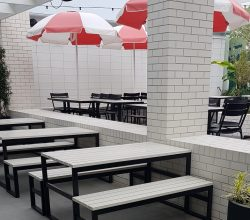 Painted Timber slats on a Steel Frame table and Bench Seats – Powder Coated Black